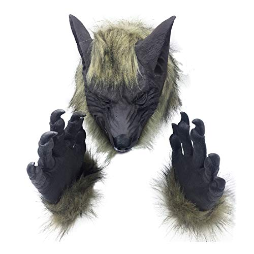 PeleusTech® Wolf Mask with Claw Gloves Werewolf Cospaly for Halloween Decoration -