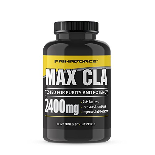 PrimaForce Max CLA 2400 Conjugated Linoleic Acid Supplement, 180 Count Softgels - Aids Fat Loss/Increases Lean Mass/Improves Fat Oxidation