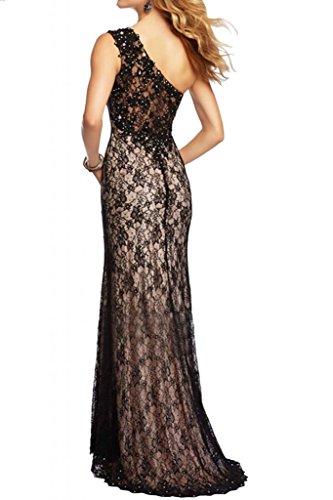 Ranura de alta calidad de la novia de la Toscana un-hombro vestidos de largo por la noche de fiesta a punta bola vestidos de moda por la noche negro