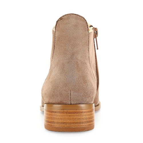 Leather Platform Fashion Boots Beige Boots leather Women's Retro ABUSA Ankle FqUHtIwx