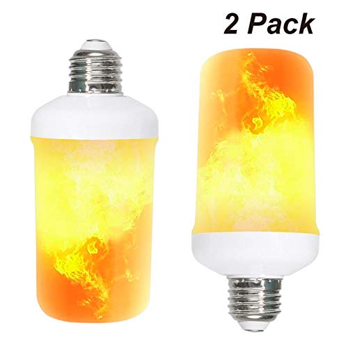 Flame Bulb, Flickering Flame Effect LED Light Bulbs E26 7W 4 Modes Decorative Fire Atmosphere Bulb for Halloween, Christmas, Home, Party, Hotel, Bar (2 Packs)
