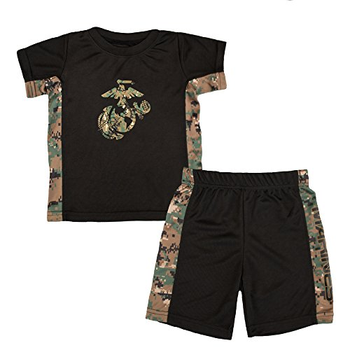 Toddler Kids U.S. Marine Corps Logo Woodland Camo Athletic Shorts & T-Shirt Set (4T)