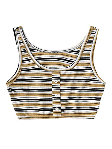 SOLY HUX Women's Slim Fit Striped Ribbed Crop Tank Top Sleeveless Summer Vest Brown XL