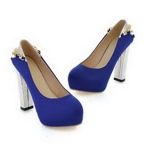 VogueZone009 Womans Closed Round Toe High Heel Fabric rosted Solid Pumps with rhinestones, Blue, 3.5 UK