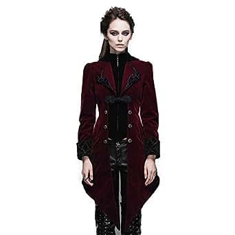 94d5674da7fe09 Devil Fashion Steampunk Swallow Tail Coat Gothic Women's Long Winter Jacket  (XS, Red)