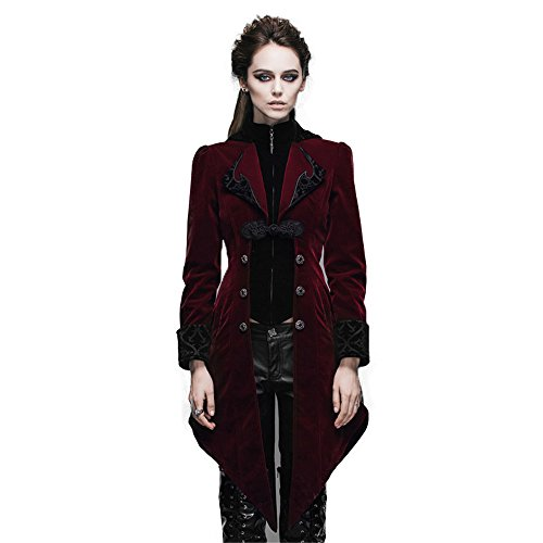 Steampunk Jacket Womens (Steampunk Swallow Tail Coat Gothic Women's Long Winter Jacket (M,)