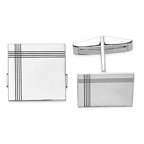 ICE CARATS 14kt White Gold Square Line Design Cuff Links Mens Cufflinks Man Link Fine Jewelry Dad Mens Gift Set (Gold Cufflinks Designer 14k)