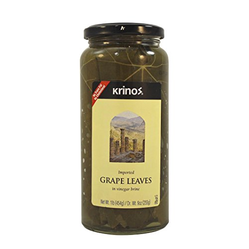 Krinos Gourmet Grape Leaves in Vinegar Brine, 16 Ounces, 454 - Leaves Grape Krinos