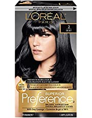 L'Oreal Paris Superior Preference, 2 Natural Black Hair Dye, Permanent Hair Color For Women, Formulated With Oléo Shine Serum Vitamin E Camelina Oil, 1 EA
