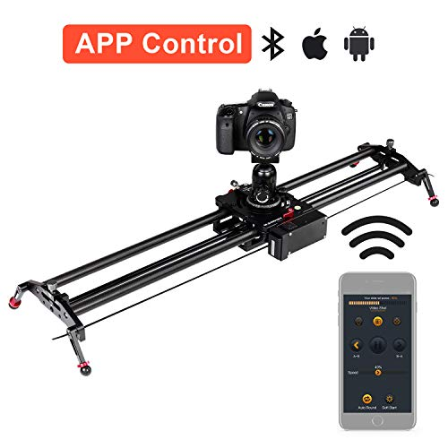 ASHANKS Camera Slider, 0.8m/2.6ft Motorized APP Bluetooth Control Carbon Fiber Video Slider Electric Track Dolly Follow Focus Timelapse Slider for DSLR Photography