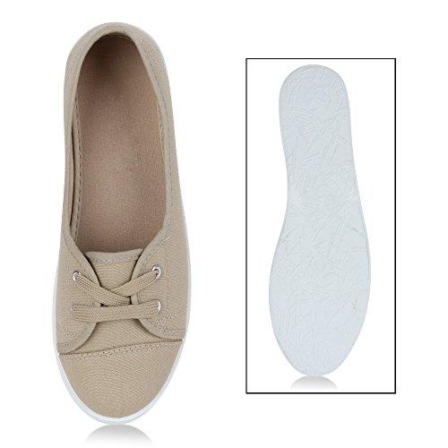 Sportliche Sneakers Damen Ballerinas Denim Stoffschuhe Schnürer Schuhe Halbschuhe Muster Lochung Flats Camouflage Spitze Flandell Khaki