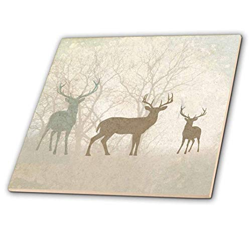 - 3dRose ct_215932_4 Deer Silhouettes Set Against Faded Forest Background in Earth Tones Ceramic Tile, 12
