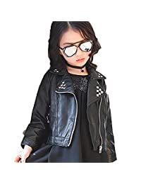 SLLSKY Toddler Girl's Casual Rivet Leather Outdoor Jackets