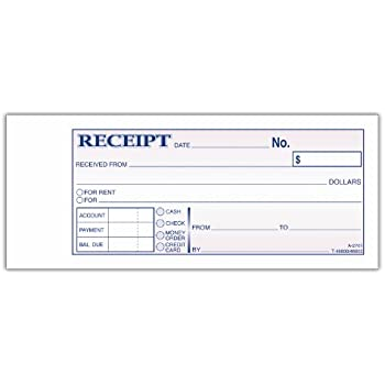 adams money and rent receipt book 2 part carbonless 275 x 719 inch 50 sets white and canary dc2701