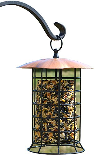 Songbird Essentials Copper Roof Suet Log Feeder (Cylinder Bird Feeder)