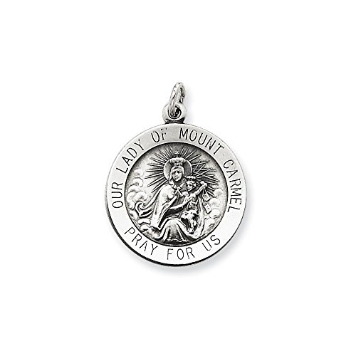 .925 Sterling Silver Antiqued Our Lady of Mount Carmel Medal Charm Pendant ()