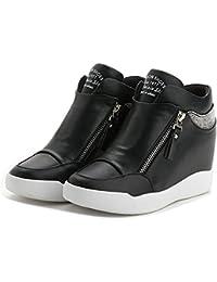 Women Fashion High Top Round Toe Wedge Sneakers Platform...