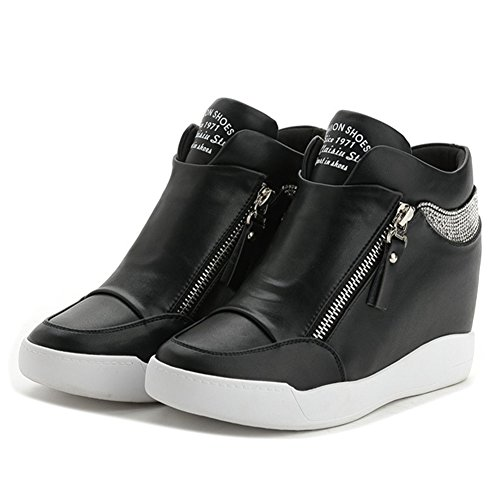 Women's Round Toe Square Heel Korean Casual Shoes with Buckle Black - 3