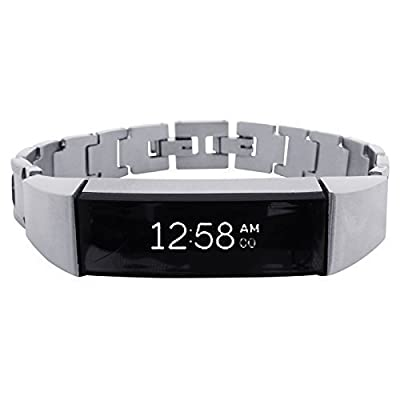 Fitbit Alta Bracelet SOSO - stainless steel and real leather - Jewelry for Fitbit Alta - Fitbit Alta Band - Fitbit Alta Accessories - Fitbit Alta replacement band (No Tracker)
