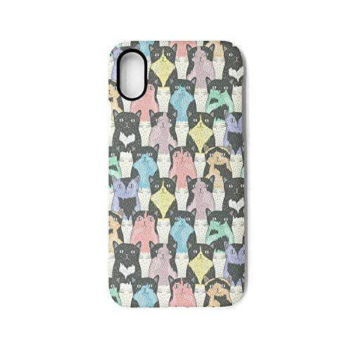 YUEch iPhone X Case iPhone Xs Case Colourful Happy Cats TPU Shock-Absorption & Skid-Proof Anti-Scratch Phone Case Cover Compatible with iPhone X/XS ()