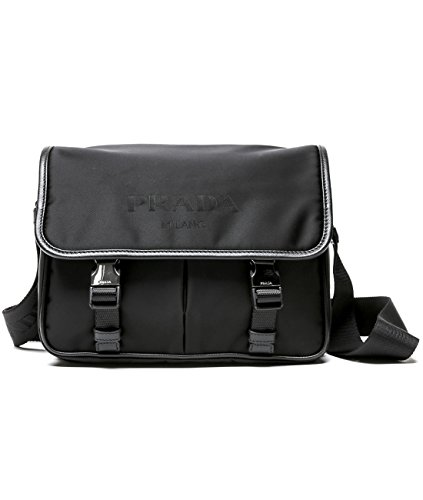 Prada Men's Double Buckle Flap Crossbody Bag