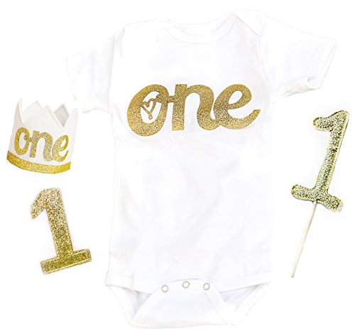 1st Birthday Baby Girls Outfit First Sparkly Gold One Year Old Onesie Crown Cake Smash Topper 1 B-Day Full Set (Onesie 1)