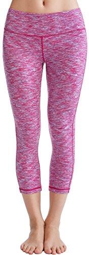 Oalka Women's Yoga Capris Power Flex Running Pants Workout Leggings Magenta M