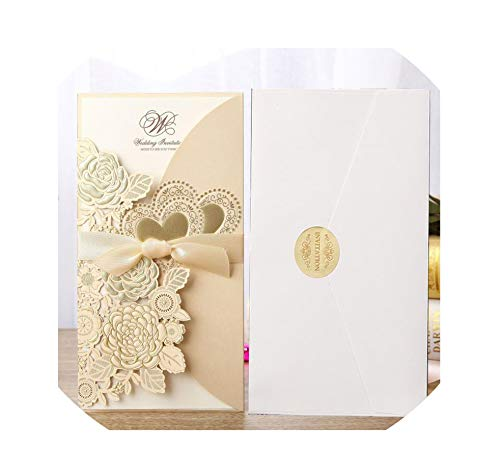 50pcs Wedding Invitations Card Rose Love Heart Greeting Cards Envelopes with Ribbon Wedding Party Supplies,one set Gold,113x215 mm