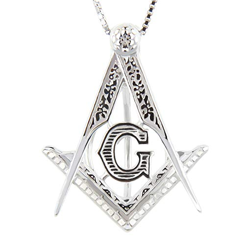 (NY Jewelry 925 Sterling Silver Freemason Medal Pendants for Pearl, Pearl Cage Pendants Lava Stone Essential Oil Diffuser for Men Women Jewelry)