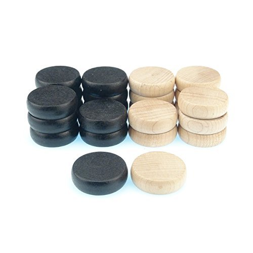 24 Crokinole Discs, 12 Black and 12 White. Made of Wood. Regulation Tournament Weight and Size. Refill Pack or Replacement Disks for Crokinole & Checkers. by Rustik