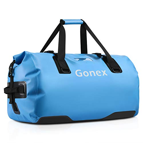 Gonex 60L Waterproof Duffel, Durable Travel Dry Duffle Bag for Kayaking Boating Fishing Outdoor Adventure Light Blue