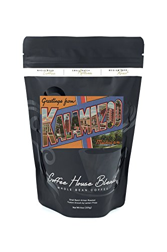 Kalamazoo, Michigan - Large Letter Scenes - Vintage Halftone (8oz Whole Bean Small Batch Artisan Coffee - Bold & Strong Medium Dark Roast w/ ()