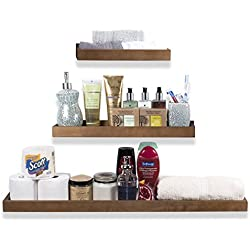 Wallniture Trendy Wooden Bathroom Décor Wall Mountable Storage Solution Floating Shelves in Varying Sizes Walnut Set of 3