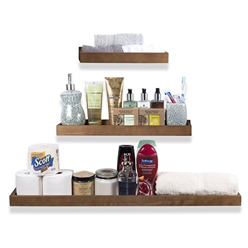 Wallniture Philly 3 Varying Sizes Floating Shelves Trays Bookshelves and Display Bookcase - Modern Wood Shelving for Kids Room and Nursery - Wall Mounted Storage Bathroom Shelf (Walnut)