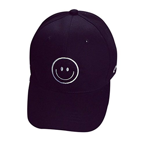 Smiley Face Belt Buckle - WILLTOO Embroidery Cotton Baseball Cap Boys Girls Snapback Hip Hop Flat Hat (Black)