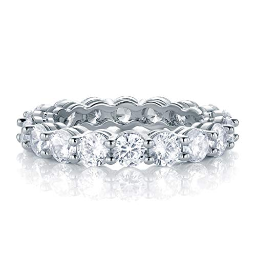 (GEMSME 18K White Gold Filled Cubic Zirconia Eternity Band Ring for Women (7) )
