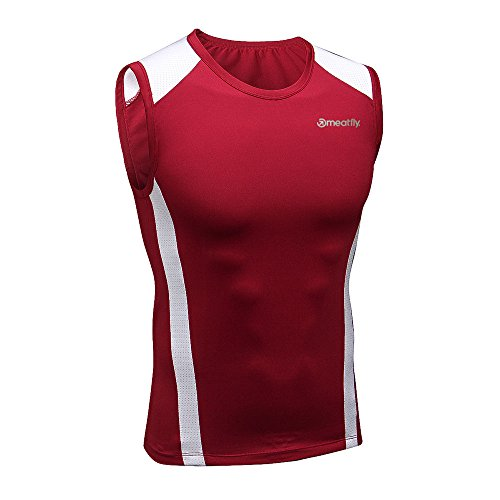 c1e7bb70f054c MEATFLY. Men's Sport Quick Dry Sleeveless Tees Vests Tank Top Shirt  (Red-WAR, X-Large)