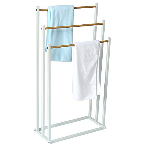 HOME BI Free Standing Towel Drying Rack, 3 Tier Metal Towel