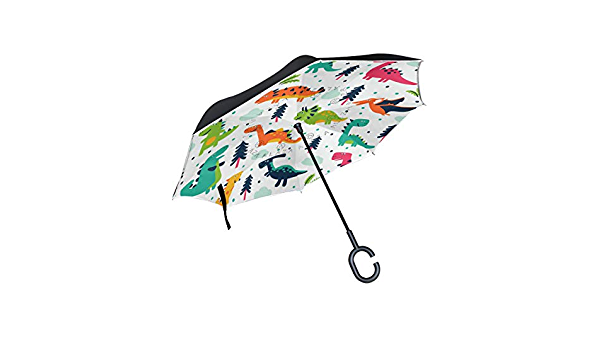 3D Storm Landscape With Dinosaur Rainproof and Windproof UV Protection Double Layer Folding Inverted Umbrella with C-Shaped Handle Reverse Umbrellas For Car Rain Outdoor