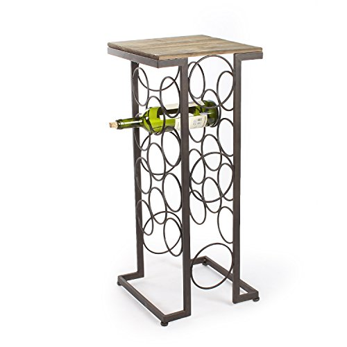 Joveco Black Iron and Walnut Rectangular Wood Top Wine Rack Stand End Table