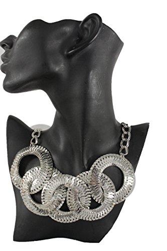 TFJ Women Fashion Necklace Silver Mesh Metal 5 Round Circles Pendant Charms