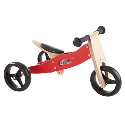 Lil' Rider 2-in-1 Wooden Balance Bike & Push Tricycle- Ride-On Toy with Easy Grip Handles, No Pedals, Rubber Wheels for Boys & Girls, Ages 1-3, Brown