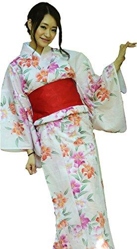 sakura Women Japanese Yukata Pre tied obi belt set with sandals / white pink and lily pattern by Sakura