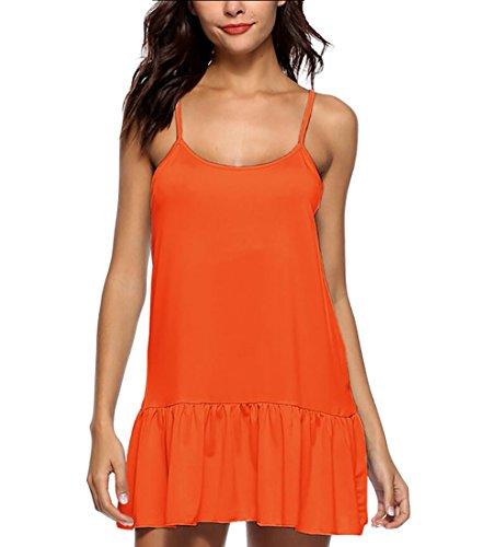 Domple Dress Women Mini Slip Swing Sundress Strap Orange Ruffle Summer Spaghetti AAdxwqzrZ