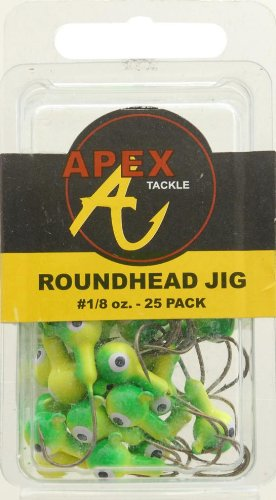 Apex Jig Heads (Pack of 25), Chartreuse/Green, 1/8-Ounce