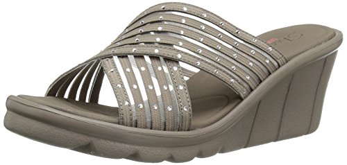 Skechers Cali Mujer Promenade Star Light Wedge Sandal, Taupe Gem