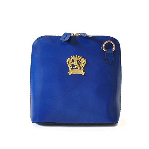 Pratesi Pelletterie, Sac en cuir pour femme Sac à bandoulière Volterra Radica Genuine Blue Electric