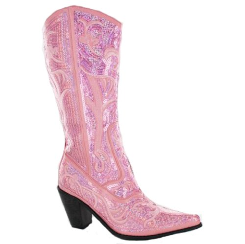 Helen Herz Damen Sparkle Pailletten Bling Full Tall Western Cowboystiefel Rosa