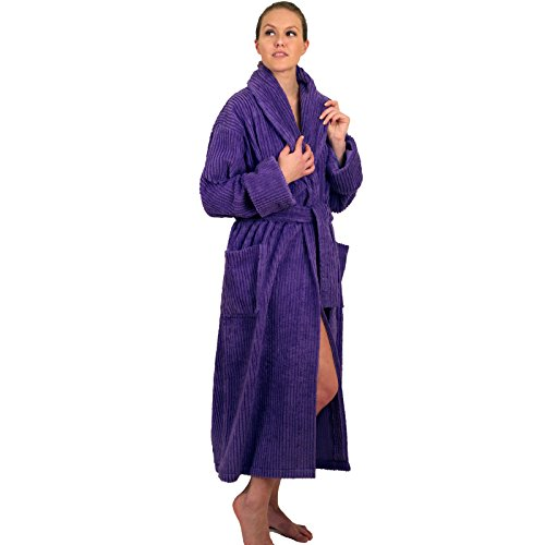 NDK New York Women's Chenille Robe Mid Calf Length 100% Cotton Shawl Collar, Lilac, Large/X-Large