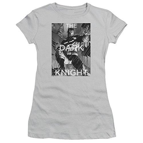 (Trevco Batman Fighting The Storm Juniors' Sheer Fitted T Shirt, Medium Silver)